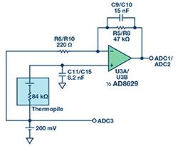 完整的采用非分散红外技术的气体传感器电路
