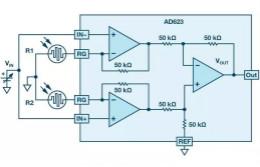 你有没有试过用仪表放大器测量两个光源的相对强度?