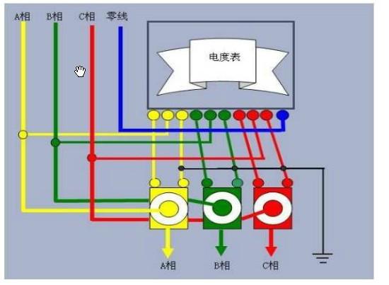 三相四线电度表接线图