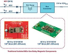 72 V混合式DC-DC转换器使中间总线转换器的尺寸减小达50%