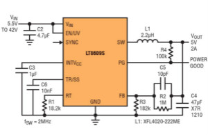 高功率单片式 Silent Switcher 2 稳压器 满足 CISPR 25 Class 5 EMI 限制要求
