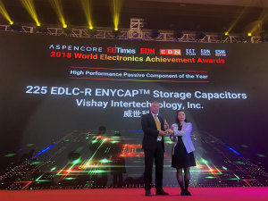 Vishay电双层储能电容器系列器件荣获AspenCore2018年度全球电子成就奖