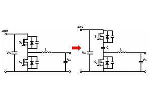 用于低占空比、基于飞轮电容的三种BUCK变换器结构