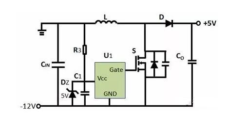 如何实现-12V输入到+5V输出?