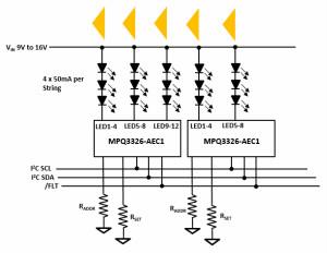 基于MPQ3326-AEC1的16路汽车LED驱动器应用