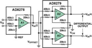 G = 1/2的差分輸出差動放大器系統