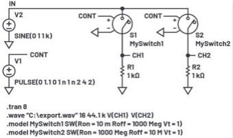 LTspice音頻WAV文件:使用立體聲和加密語音消息