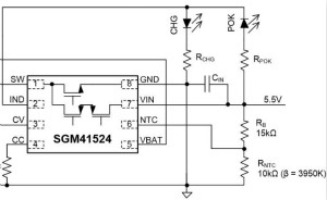 SGM41524緊湊型簡潔開關充電:0.3A~2.3A鋰電池充電器