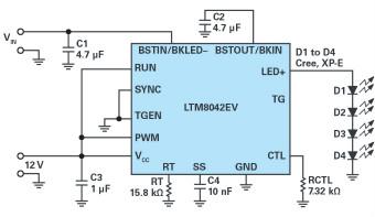 多功能LED驅動器可使用高于或低于LED燈串電平的輸入電壓