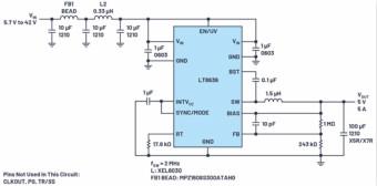 直接通过汽车电池输入进行DC-DC转换:5A、3.3V和5V电源符合严格的EMI辐射标准