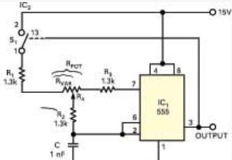 利用模擬開關實現555自激振蕩器的脈沖轉換