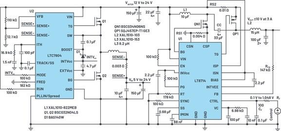 通过5 V至24 V输入〗提供双极性、双向DC-DC流入和流出电流