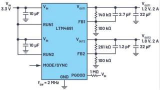 3.6V輸入、雙路輸出μModule降壓穩壓器以3mm × 4mm小尺寸為每通道提供2A電流