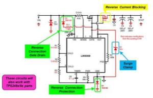 针对反向连接、浪涌钳位以及反向电流保护进行防御