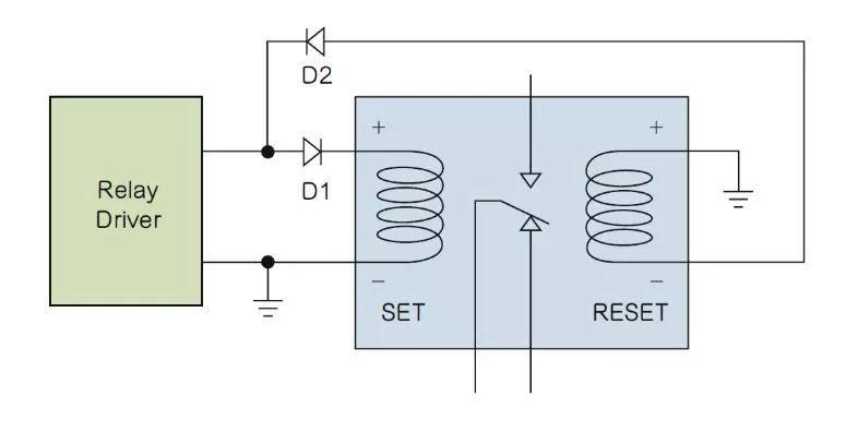 如何利�用二极管电路实现双线圈锁存继电¤器?
