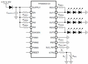 TPS92633-Q1在汽車LED尾燈/小燈中的應用