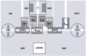 低輻射的4開關降壓-升壓型控制器布局——單熱回路與雙熱回路