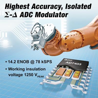 ADI推出高精度隔离式调制器AD7403