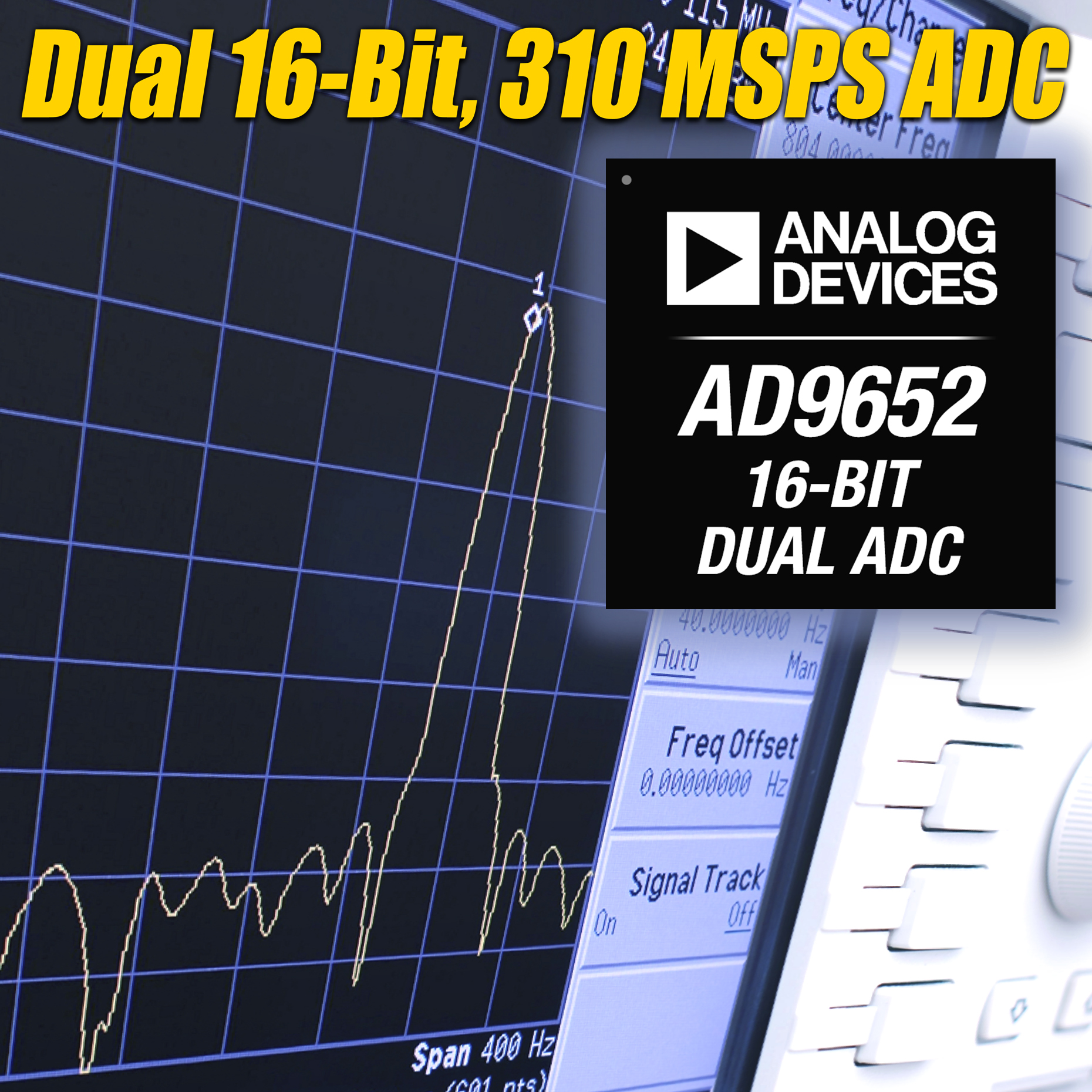 ADI推出16位、310 MSPS、双通道模数转换器AD9652
