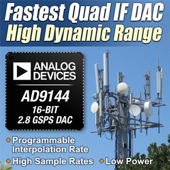 ADI发布最快四通道中频数模转换器