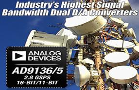 ADI双通道16位DAC实现行业最高信号带宽
