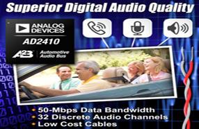 ADI推出汽车电子总线技术产品AD2410,实现出色的数字音频质量