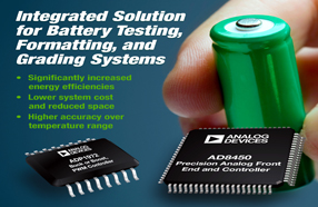 ADI首款集成式模拟控制器AD8450,用于电池测试/形成系统