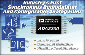 ADI最新同步解调器ADA2200,可提高低功耗应用的信号测量灵敏度