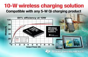 TI 推出支持业界首款全面集成型 10 W无线充电解决方案