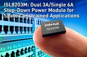 Intersil推出紧凑型双路3A/单路6A降压电源模块ISL8203M