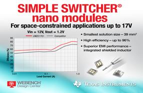 TI推出四款全新SIMPLE SWITCHER高效超小型电源模块