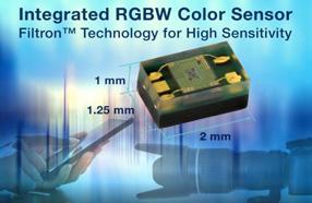 Vishay数字RGBW传感器,可响应接近实际人眼的环境光光谱感光度