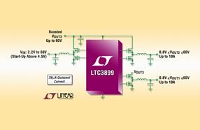 Linear推出60V、29μA IQ、三路输出DC/DC控制器LTC3899