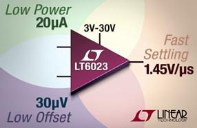 Linear 推出20µA低功率运算放大器,可提供30µV精确度