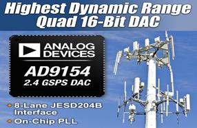 ADI推出四通道、2.4 GSPS、16位数数模转换器AD9154