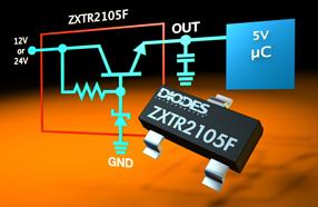 Diodes高压稳压器晶体管,可为微控制器提供5V电源