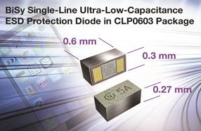 Vishay新款用于便携设备的BiSy单线超低电容ESD保护二极管