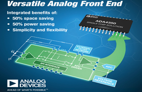 ADI推出集成ADC驱动器的FET输入模拟前端ADA4350