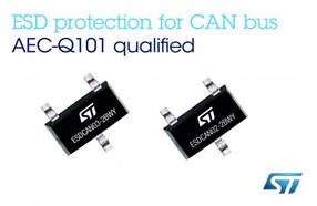 ST新款汽车用CAN总线ESD保护芯片:全球首款符合所有主要接口协议的芯片