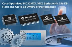 Microchip全新32位PIC32MX1/2单片机系列提供256KB大容量闪存配置与16KB RAM