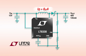 Linear新款升压型 DC/DC 转换器 LT8330开关频率低,可提供高达 90% 的效率