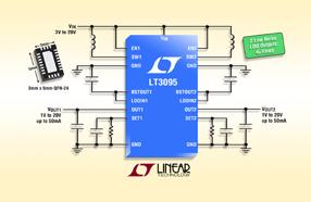 Linear新款双通道 IC LT3095可提供两路非常低噪声、低纹波的偏置电源