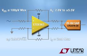 低功率高精度全差分:Linear新款放大器可优化高性能SAR