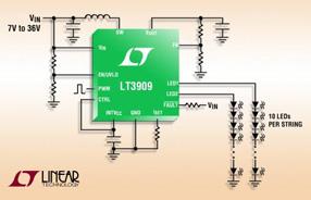 Linear推出两串2MHz升压型50mA LED驱动器 LT3909