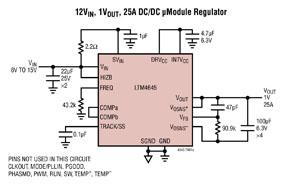 ADI旗下凌力尔特公司推出 25A 降压型µModule® (电源模块) LTM4645