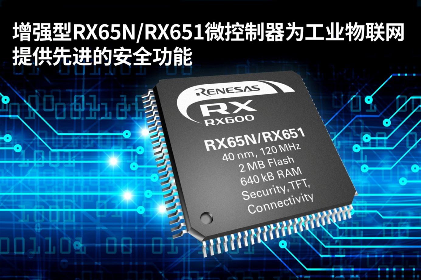 瑞萨电子推出增强型RX65N/RX651微控制器