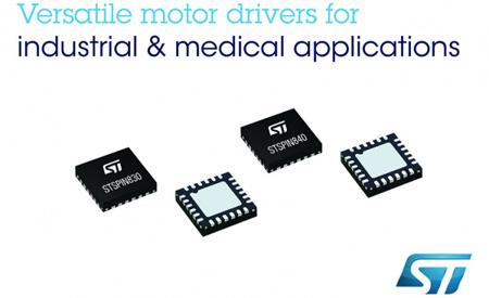 ST推出新款STSPIN电机驱动器,可提高电机控制的灵活性
