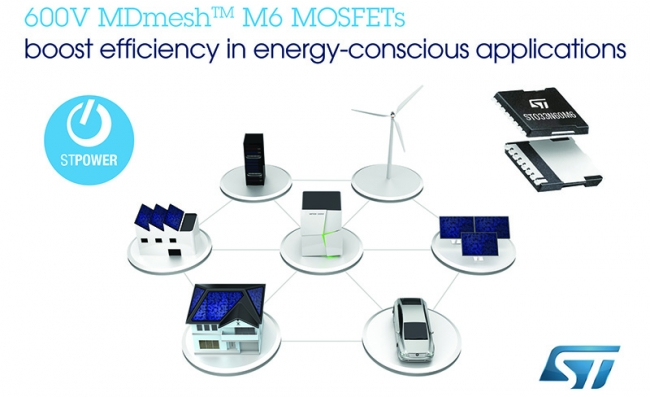 ST推出MDmesh系列600V超结晶体管,可提高中等功率转换器拓扑能效