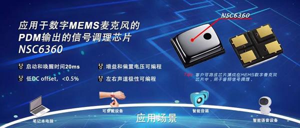 纳芯微推出应用于数字MEMS麦克风PDM输出的信号调理芯片NSC6360