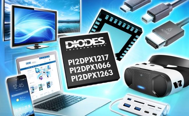Diodes推出1.8V 10Gbps USB Type-C 及 DisplayPort 线性 ReDriver 讯号中继器